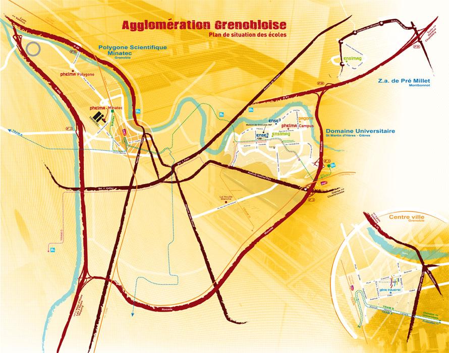 Plan de l'agglomération grenobloise